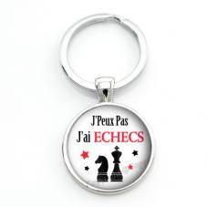 """Porte-clé """"J'peux pas j'ai Échecs"""" Cadeau Original Humour Anniversaire Noël"""