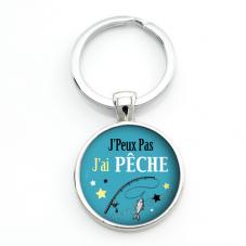 """Porte-clé """"J'peux pas j'ai Pêche"""" Cadeau Original Humour Anniversaire Noël"""