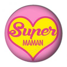 """Cabochon en Résine à Coller """"Super Maman"""" 25mm"""