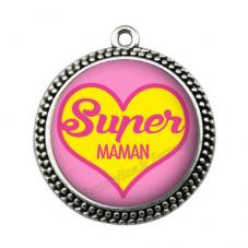 """Pendentif Cabochon en Résine """"Super Maman"""" 25mm"""
