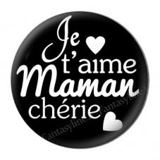 """Cabochon en Résine à Coller """"Je t'aime Maman"""" 25mm"""