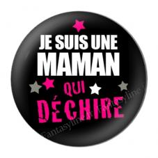 """Cabochon en Résine à Coller """"Maman qui Déchire"""" 25mm"""