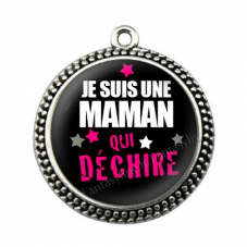 """Pendentif Cabochon en Résine """"Maman qui Déchire"""" 25mm"""