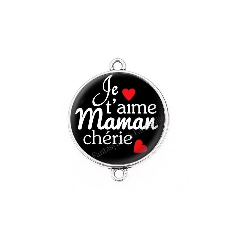 """Connecteur Cabochon en Résine """"Je t'aime Maman"""" 25mm"""