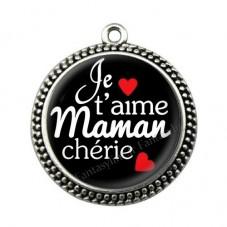 """Pendentif Cabochon en Résine """"Je t'aime Maman"""" 25mm"""