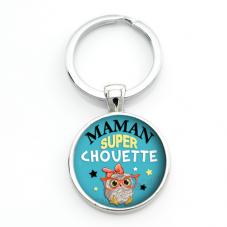 """Porte-clé """"Maman Super Chouette"""" Cadeau Fête des Mères"""