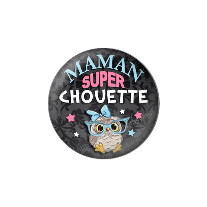 """Cabochon en Résine à Coller """"Maman Super Chouette"""" 25mm"""