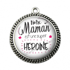 """Connecteur Cabochon en Résine """"Maman Super Héroïne"""" 25mm"""