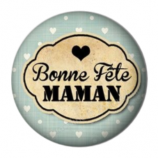 """Cabochon en Résine à Coller """"Bonne Fête Maman"""" 25mm pour la Création de Bijoux Fantaisie - DIY"""