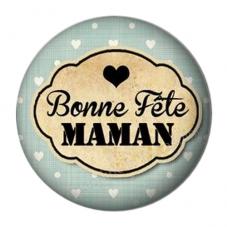 """Cabochon en Résine à Coller """"Bonne Fête Maman"""" 25mm"""
