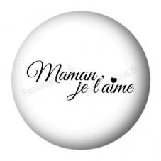 """Cabochon en Résine à Coller """"Maman je t'aime"""" 25mm"""