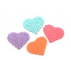 4 Cabochons Coeurs Multicolores en Résine 41x23mm