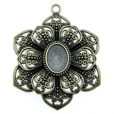 Support Grand Pendentif Fleur Bronze pour Cabochon 13x18mm
