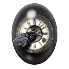 Cabochon en Verre Illustré Corbeau Horloge Gothique 30x40mm