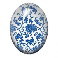 Cabochon en Verre Illustré Fleurs Blanc/Bleu 30x40mm