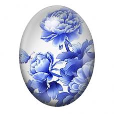 Cabochon en Verre Illustré Fleurs Blanc/Bleu 13x18, 18x25 ou 30x40mm pour la Création de Bijoux Fantaisie - DIY