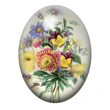 Cabochon en Verre Illustré Bouquet de Fleurs 30x40mm