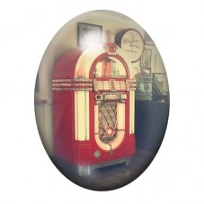 Cabochon en Verre Illustré Jukebox Vintage 30x40mm