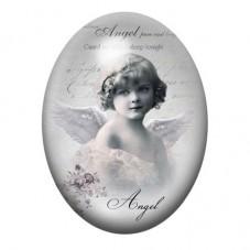 Cabochon en Verre Illustré Petite Fille Ange Vintage 30x40mm