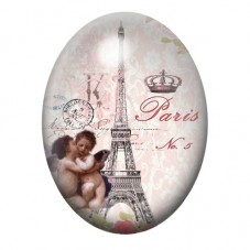 Cabochon en Verre Illustré Tour Eiffel Ange Vintage 30x40mm