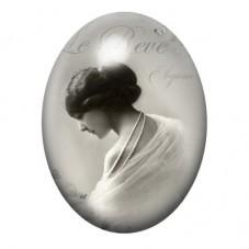 Cabochon en Verre Illustré Femme Vintage 30x40mm