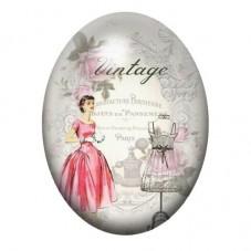 Cabochon en Verre Illustré Femme Vintage 13x18, 18x25 ou 30x40mm pour la Création de Bijoux Fantaisie - DIY
