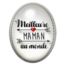 Cabochon en Verre Illustré Meilleure Maman 30x40mm