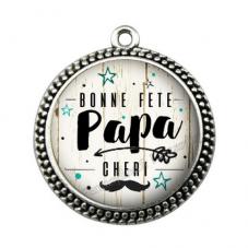 """Pendentif Cabochon en Résine """"Bonne Fête Papa"""" 25mm pour la Création de Bijoux Fantaisie - DIY"""