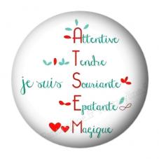 """Cabochon en Résine à Coller """"Atsem tendre, souriante..."""" 25mm pour la Création de Bijoux Fantaisie - DIY"""