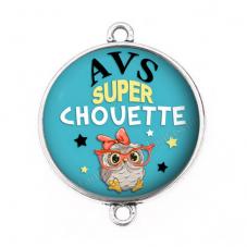"""Connecteur Cabochon en Résine """"AVS Super Chouette"""" 25mm"""