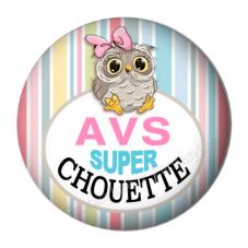 """Cabochon en Résine à Coller """"AVS Super Chouette"""" 25mm"""