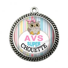 """Pendentif Cabochon en Résine """"AVS Super Chouette"""" 25mm"""