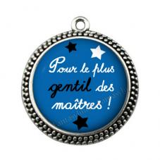"""Pendentif Cabochon en Résine """"Le plus gentil des Maîtres"""" 25mm"""