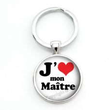 """Porte-Clé """"J'aime mon Maître"""" Cadeau de Fin d'Année d'École"""