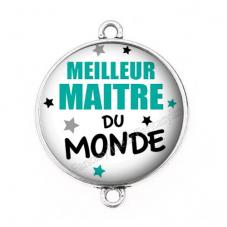 """Connecteur Cabochon en Résine """"Meilleur Maître du Monde"""" 25mm"""