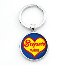 """Porte-clé """"Super Maître"""" Cadeau de Fin d'Année d'École"""