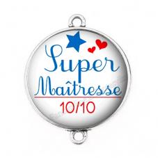 """Connecteur Cabochon en Résine """"Super Maîtresse"""" 25mm pour la Création de Bijoux Fantaisie - DIY"""