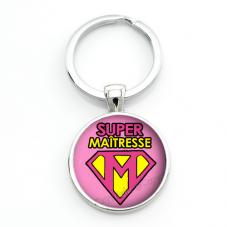 """Porte-clé """"Super Maîtresse"""" Cadeau de Fin d'Année d'École"""