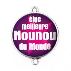 """Connecteur Cabochon en Résine """"Élue Meilleure Nounou"""" 25mm pour la Création de Bijoux Fantaisie - DIY"""