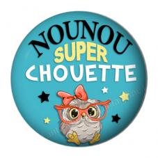 """Cabochon en Résine à Coller """"Nounou Super Chouette"""" 25mm"""