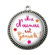 """Pendentif Cabochon en Résine """"Ma Nounou est Géniale"""" 25mm"""