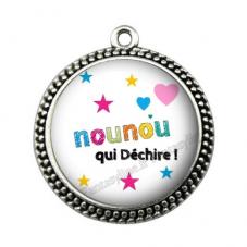 """Pendentif Cabochon en Résine """"Nounou qui Déchire"""" 25mm"""