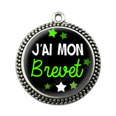 """Pendentif Cabochon en Résine """"J'ai mon Brevet"""" 25mm"""