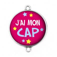 """Connecteur Cabochon en Résine """"J'ai mon CAP"""" 25mm"""