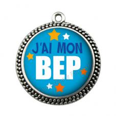 """Pendentif Cabochon en Résine """"J'ai mon BEP"""" 25mm"""