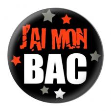 """Cabochon en Résine à Coller """"J'ai mon BAC"""" 25mm"""
