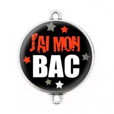 """Connecteur Cabochon en Résine """"J'ai mon BAC"""" 25mm"""