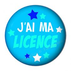 """Cabochon en Résine à Coller """"J'ai ma Licence"""" 25mm"""