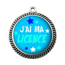 """Pendentif Cabochon en Résine """"J'ai ma Licence"""" 25mm"""