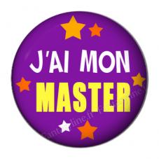 """Cabochon en Résine à Coller """"J'ai mon Master"""" 25mm"""